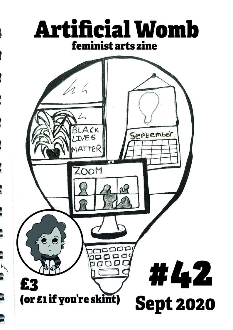 zine cover: Artificial Womb #42: drawing of window, calendar, and laptop with Zoom open--all inside a lightbulb